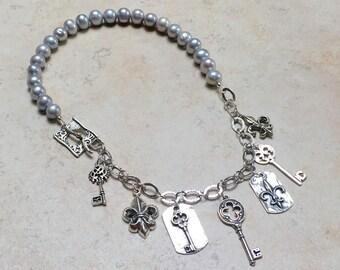 Fleur de Lis and Keys Necklace
