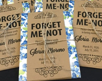Personalized Memorial Forget-Me-Not Seed Packets with Blue Floral Wrap