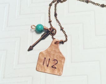 Cattle Brand Necklace - Ranch Brand Necklace  - Ear Tag Necklace - Rustic Necklace - Gift For Her - Copper Cow Tag Necklace
