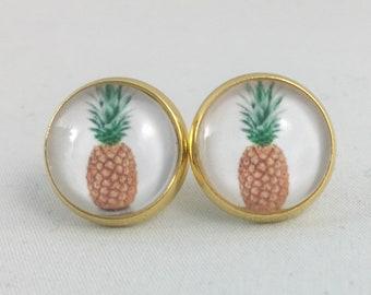 Pineapple Earrings, Print Earrings, Pineapple Jewelry, Pineapple Print, Personalized Studs, Pineapple Studs, Stud Earrings, Pineapple