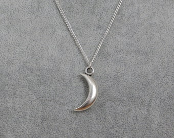 Silver Crescent Moon Necklace, Moon Pendant, Half Moon Necklace, 3D Moon Charm, Celestial Pendant, Silver Moon Charm
