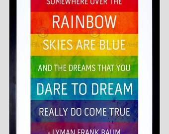 Somewhere Over Rainbow / Frank Baum / Music Quote / Typography / Framed Art Print FEQU324B