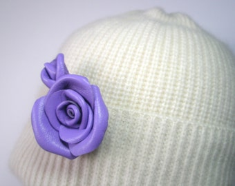 3rd anniversary giftViolet Leather Flower Rose Brooch,Pendant  Wedding,Proms,Celebration,Friendly Gift