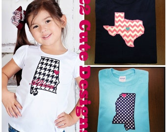 Adult State Love Monogram Chevron & Polka Dot Embroidered Applique - Shirt 100% Cotton - MADE TO ORDER