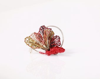 Red butterfly brooch, wire insect jewelry, cute pin, Easter gift for girls, mothers day gift, colorful, unusual, modern hippie, art jewelry