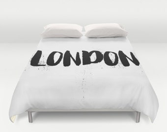 London Duvet Cover, Black and White Bedding, London Decor, King Duvet Cover, Queen Bedding, Twin, Housewarming Gift, Apartment Decor, Gifts