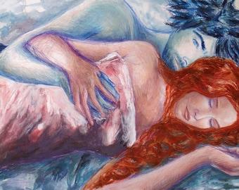 Art premier amour, peinture techniques mixtes, image couple romance, tableau grand format, design décoration, pièce unique