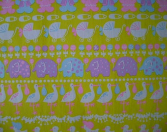 Vintage Baby Gift Wrapping Paper--1970s Baby Shower Gift Wrap 1 Sheet-- Animal March
