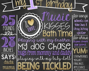 Purple and Gold First Birthday Chalkboard | 1st Birthday Princess Chalkboard Sign | First Birthday Chalkboard Girl | Birthday Chalkboard