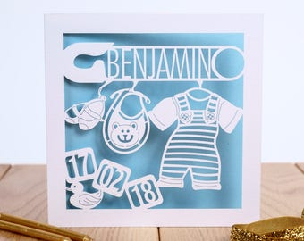 The Nursery 'Building Blocks', New Baby Card, Personalised Birthday Card For Baby, Newborn Card