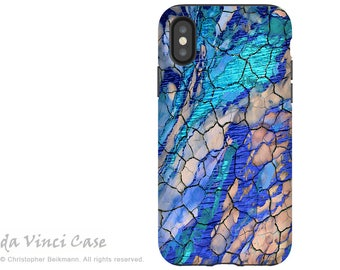 Blue Desert Abstract iPhone X Tough Case - Dual Layer Protection for iPhone 10 - Desert Memories by Da Vinci Case