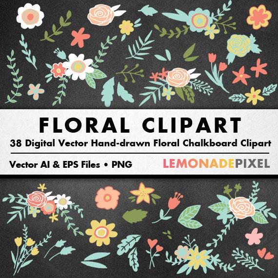 Chalkboard Floral Clipart