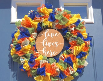 Burlap Ribbon Wreath Front Door Wreath Burlap Wreath Spring Wreath Summer Wreath Door Wreath Rustic Decor Gift for Mom Birthday Farmhouse