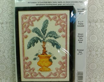 """NMI Counted Cross Stitch Kit #4081 Victorian Palm with 5"""" X 7"""" with Plastic Frame 14 count Cotton Aida fabric, Graph and Floss Kit"""