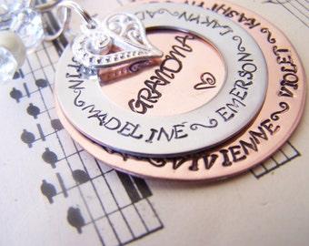 Father's Day Hand Stamped Generation Keychain Gift for Grandma, Grandmother Gift, Personalized Grandma keychain, Custom Mamaw