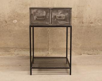 Vintage Industrial Polished Metal End Table   Side Table   Nightstand    Bedside Table   Industrial