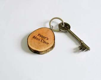 Personalised Tree Branch Keyring - Laser Engraved Keychain - Coppiced