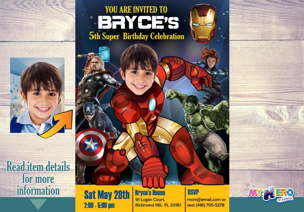 Ironman Birthday Party Invitation. Avengers Party