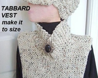 INSTANT DOWNLOAD Knitting Pattern  PDF 90 Tabbard Vest- sizes Xsmall to Large. For a crochet version see number 107