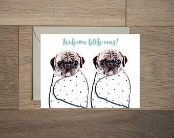 Baby shower carte - twins Bienvenue - sexiste - bébé garçon - bébé fille - pugs