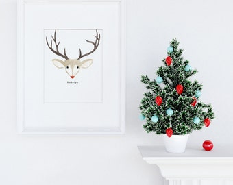 INSTANT DOWNLOAD Rudolph the Red Nose Reindeer Wall Print