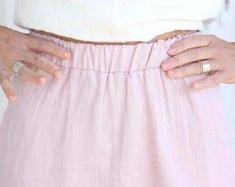 Soft Linen Skirt / Summer Linen / Wide Skirt with Elastic Waist / Women's Linen Clothing