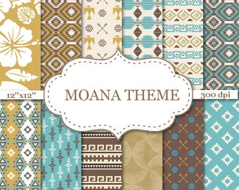 "MOANA THEME digital papers Aztec Digital papers Floral scrapbook papers Moana Papers Tribal Digital Paper Instant download 12""x12"" #P140"