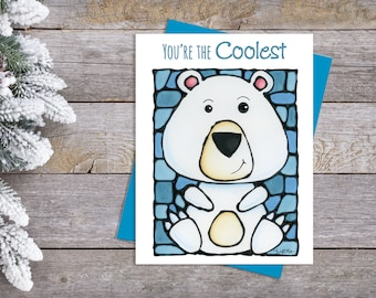 Polar Bear Greeting Card - Teacher Card - Cute Card - Thinking of You - Whimsical Card - Pun Card - Card for Him - Father's Day Card