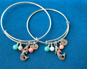 Child Mermaid Bracelet, Beach, Vacation,Summer daughter little Bangle set,Stamped initial bracelet,holiday,flower girl,expandable,kid