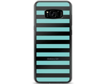 Horizontal Aqua Stripes Samsung Case