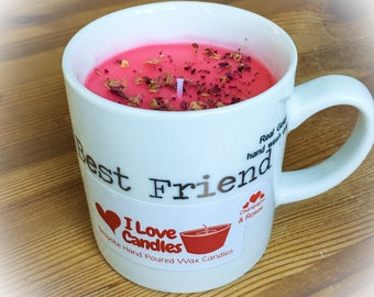 Best Friend Mug Candles Champagne & Roses, Bespoke Handcrafted Wax Candles