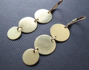 Brass Circle Earrings, Geometric Dangles, 14k Gold Filled