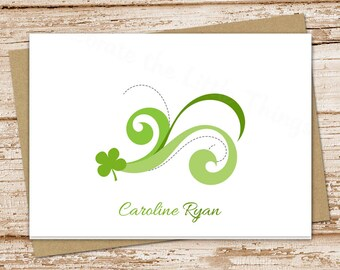 personalized irish note cards . notecards . personalized stationery .  stationary . shamrock clover . folded cards . set of 8