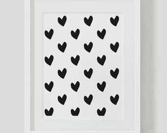 Black and White Heart Pattern  INSTANT DOWNLOAD Art, Printable Art, Hearts, Love Print, Art Print, Abstract Hearts, Download