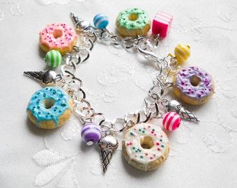 Donut Charm Bracelet, Doughnut Bracelet, Donut Bracelet, Charm Bracelet, Food Jewelry, Polymer Clay, Cute Bracelet, Kawaii, Sweet Lolita