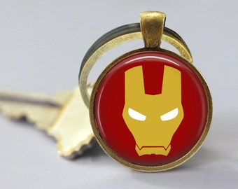 Iron Man Logo Symbol DC Glass Pendant, Photo Glass Necklace, Glass Keychain