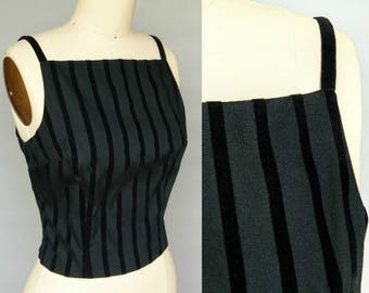 five by five / 90s black velvet striped fitted top / 10 12 medium