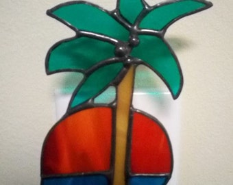 Stained glass palm tree night light