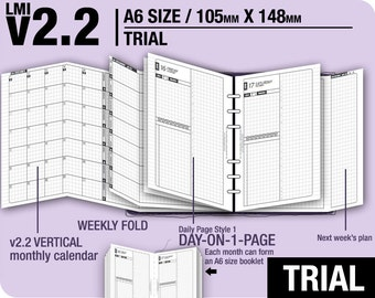 Trial [A6 v2.2 w DS1 do1p] July to September 2018 - Filofax Inserts Refills Printable Binder Planner Midori.
