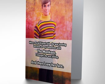 New  Funny Monkees Joke Art Greetings Greeting Card Gift CP1624