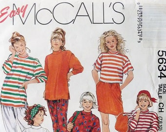 Girl's 1990s Wardrobe Sewing Pattern - Girl's Tunic, Top, Skirt, Pants Sewing Pattern - Size 7-8-10 - McCall's 5634 - 1990s Girl's Fashion
