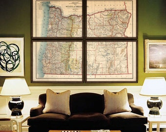 """Oregon map 1897, XL vintage map of Oregon state, 6 sizes up to 72x60"""" 180x150 cm in 1 or 4 parts, also in blue - Limited Edition of 100"""