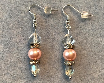 Drop Earring-Pink Color Faux Pearl and Crytal Color Beads
