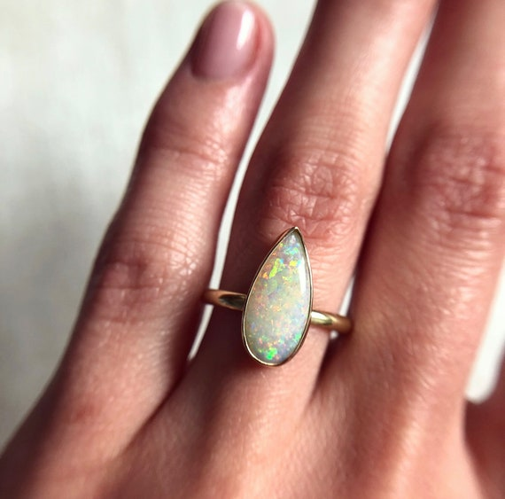 14K yellow gold ring with Australian crystal pipe opal SZ 6