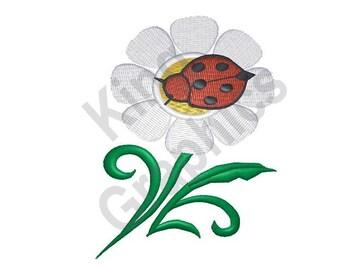 Ladybug On Daisy - Machine Embroidery Design, Ladybug, Daisy, Flower