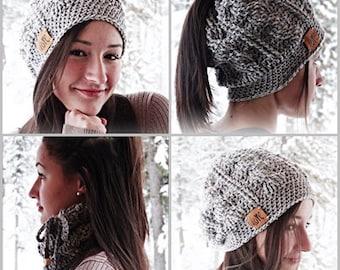 Crochet Ponytail Beanie Messy Bun Hat Scarf by AngelsChest -