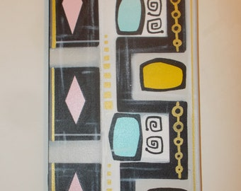 "1950s Shapes Colors Mid Century Modern Original Painting Eames Atomic Era Design Abstract 8"" X 16"""
