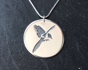 Magpie in flight necklace