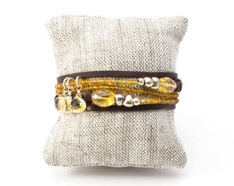 Citrine Necklace, Citrine Wrap Bracelet, Adjustable Necklace, Citrine Necklace, Citrine Bracelet, Leather Wrap, Gold and Silver Wrap