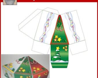 Green Christmas Cake Box Printable
